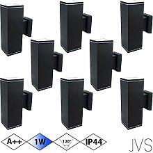 Außenleuchte Wandleuchte Wandlampe VENEZIA (Schwarz matt) Eckig inkl. 8 x VENEZIA IP44 Eingangsleuchte (Quadratisch) 16 x LED GU10 1W Kaltweiß
