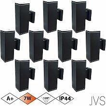 Außenleuchte Wandleuchte Wandlampe VENEZIA (Schwarz matt) Eckig inkl. 10 x VENEZIA IP44 Eingangsleuchte (Quadratisch) 20 x LED GU10 7W Warmweiß