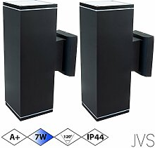 Außenleuchte Wandleuchte Wandlampe VENEZIA (Schwarz matt) Eckig inkl. 2 x VENEZIA IP44 Eingangsleuchte (Quadratisch) 4 x LED GU10 7W Kaltweiß