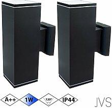 Außenleuchte Wandleuchte Wandlampe VENEZIA (Schwarz matt) Eckig inkl. 2 x VENEZIA IP44 Eingangsleuchte (Quadratisch) 4 x LED GU10 1W Kaltweiß
