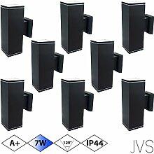 Außenleuchte Wandleuchte Wandlampe VENEZIA (Schwarz matt) Eckig inkl. 8 x VENEZIA IP44 Eingangsleuchte (Quadratisch) 16 x LED GU10 7W Kaltweiß