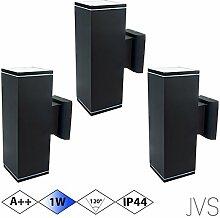 Außenleuchte Wandleuchte Wandlampe VENEZIA (Schwarz matt) Eckig inkl. 3 x VENEZIA IP44 Eingangsleuchte (Quadratisch) 6 x LED GU10 1W Kaltweiß