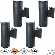 Außenleuchte Wandleuchte Wandlampe VENEZIA (Schwarz matt) Rund inkl. 4 x VENEZIA IP44 Eingangsleuchte (Rund) 8 x LED GU10 4W Warmweiß