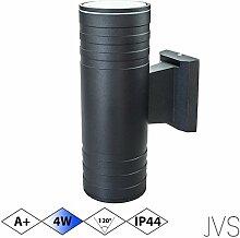 Außenleuchte Wandleuchte Wandlampe VENEZIA (Schwarz matt) Rund inkl. 1 x VENEZIA IP44 Eingangsleuchte (Rund) 2 x LED GU10 4W Kaltweiß