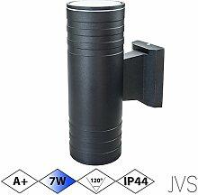 Außenleuchte Wandleuchte Wandlampe VENEZIA (Schwarz matt) Rund inkl. 1 x VENEZIA IP44 Eingangsleuchte (Rund) 2 x LED GU10 7W Kaltweiß