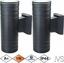 Außenleuchte Wandleuchte Wandlampe VENEZIA (Schwarz matt) Rund inkl. 2 x VENEZIA IP44 Eingangsleuchte (Rund) 4 x LED GU10 5W PHILIPS Warmweiß