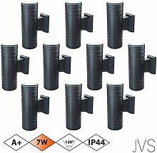 Außenleuchte Wandleuchte Wandlampe VENEZIA (Schwarz matt) Rund inkl. 10 x VENEZIA IP44 Eingangsleuchte (Rund) 20 x LED GU10 7W Warmweiß