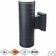 Außenleuchte Wandleuchte Wandlampe VENEZIA (Schwarz matt) Rund inkl. 1 x VENEZIA IP44 Eingangsleuchte (Rund) 2 x LED GU10 7W Warmweiß