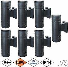Außenleuchte Wandleuchte Wandlampe VENEZIA (Schwarz matt) Rund inkl. 7 x VENEZIA IP44 Eingangsleuchte (Rund) 14 x LED GU10 3.5W PHILIPS Warmweiß