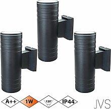 Außenleuchte Wandleuchte Wandlampe VENEZIA (Schwarz matt) Rund inkl. 3 x VENEZIA IP44 Eingangsleuchte (Rund) 6 x LED GU10 1W Warmweiß