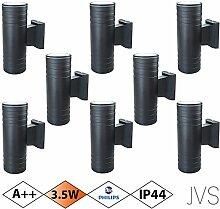 Außenleuchte Wandleuchte Wandlampe VENEZIA (Schwarz matt) Rund inkl. 8 x VENEZIA IP44 Eingangsleuchte (Rund) 16 x LED GU10 3.5W PHILIPS Warmweiß
