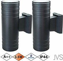 Außenleuchte Wandleuchte Wandlampe VENEZIA (Schwarz matt) Rund inkl. 2 x VENEZIA IP44 Eingangsleuchte (Rund) 4 x LED GU10 3.5W PHILIPS Warmweiß