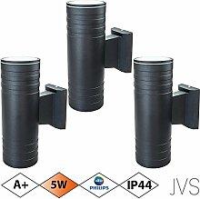 Außenleuchte Wandleuchte Wandlampe VENEZIA (Schwarz matt) Rund inkl. 3 x VENEZIA IP44 Eingangsleuchte (Rund) 6 x LED GU10 5W PHILIPS Warmweiß