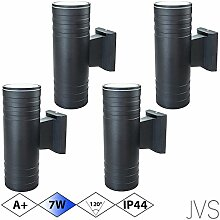 Außenleuchte Wandleuchte Wandlampe VENEZIA (Schwarz matt) Rund inkl. 4 x VENEZIA IP44 Eingangsleuchte (Rund) 8 x LED GU10 7W Kaltweiß