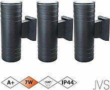 Außenleuchte Wandleuchte Wandlampe VENEZIA (Schwarz matt) Rund inkl. 3 x VENEZIA IP44 Eingangsleuchte (Rund) 6 x LED GU10 7W Warmweiß