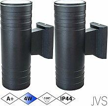 Außenleuchte Wandleuchte Wandlampe VENEZIA (Schwarz matt) Rund inkl. 2 x VENEZIA IP44 Eingangsleuchte (Rund) 4 x LED GU10 4W Kaltweiß