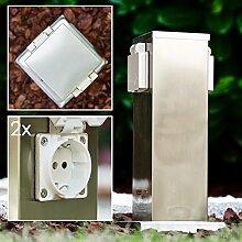 Außensteckdose aus Edelstahl mit 2 Schuko Stecker Eingängen - Modernes Design und hochwertige Verarbeitung - Garten Aussensteckdose für den Anschluss von Lampen, Rasenmähern