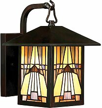 Außenwandlampe Bronze antik IP44 Buntglas Tiffany