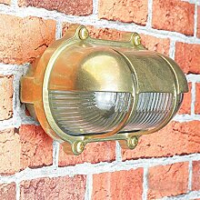 Außenwandlampe Messing Maritim Glasschirm Käfig