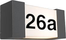 Außenwandleuchte anthrazit mit Hausnummer IP54 -