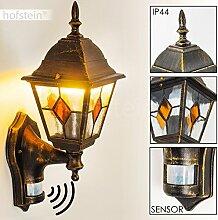 Außenwandleuchte Antibes mit Bewegungsmelder - 1-flammige Wandlampe aus Aluguss in braun-gold - Aussenleuchte für Terrasse - Veranda - Hof