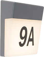 Außenwandleuchte grau inkl. LED und Hausnummer