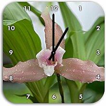 außergewöhnliche Blüte, Wanduhr Quadratisch