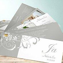 Außergewöhnliche Hochzeitseinladungen, Garten der Träume 150 Karten, Kartenfächer 210x80 inkl. weißer Umschläge, Grau