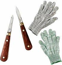 Austernmesser mit 2 Paar Schnittschutzhandschuhe
