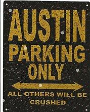 Austin Metall Parking Rustikaler Stil den großen 30,5x 40,6cm 30x 40cm Auto Schuppen Dose Garage Werkstatt Art Wand Spiele Raum