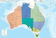 Australien Landkarte englisch Foto-Tapete 2-teilig - Fototapete Wallpaper 232x158cm. Beigelegt sind eine Packung Kleber und eine Klebeanleitung.