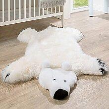 Australisches Lammfell Naturfell Spielteppich Kinderzimmer Dekofell Eisbär Weiß, Grösse:130x80 cm