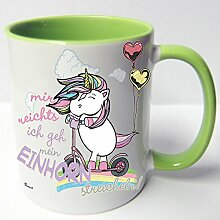 AUSWAHL Tasse Einhorn Unicorn mug Spruch Motive Fun Premium Geschenk Keramik, Original Sunnywall® Geschenkidee (60 streicheln grün)