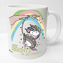 AUSWAHL Tasse Einhorn Unicorn mug Spruch Motive Fun Premium Geschenk Keramik, Original Sunnywall® Geschenkidee (64 schaukeln weiss)