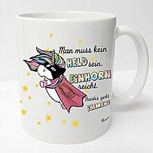 AUSWAHL Tasse Einhorn Unicorn mug Spruch Motive Fun Premium Geschenk Keramik, Original Sunnywall® Geschenkidee (66 hero held weiss)