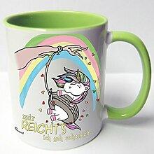AUSWAHL Tasse Einhorn Unicorn mug Spruch Motive Fun Premium Geschenk Keramik, Original Sunnywall® Geschenkidee (64 schaukeln grün)