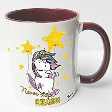 AUSWAHL Tasse Einhorn Unicorn mug Spruch Motive Fun Premium Geschenk Keramik, Original Sunnywall® Geschenkidee (65 never stop dreaming rot)