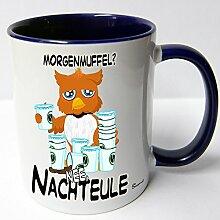 AUSWAHL Tasse Sunny die Eule owl mug Spruch Motive Fun Geschenk Keramik, Original Sunnywall® Geschenkidee (74-tas-blau Nachteule Morgenmuffel)