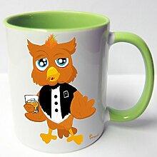 AUSWAHL Tasse Sunny die Eule owl mug Spruch Motive Fun Geschenk Keramik, Original Sunnywall® Geschenkidee (73-tas-gruen betrunken)