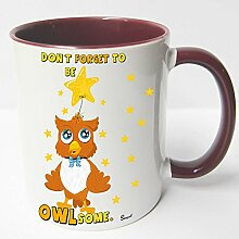 AUSWAHL Tasse Sunny die Eule owl mug Spruch Motive Fun Geschenk Keramik, Original Sunnywall® Geschenkidee (71-tas-rot Sterne star)