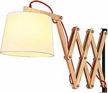Ausziehbar Wandleuchte, Holz Nachttischlampe mit