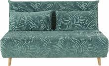 Ausziehbare 2-Sitzer-Polsterbank mit grünem