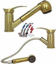 Ausziehbare Niederdruck Spültischarmatur Küchenarmatur Einhebelmischer Wasserhahn Mischbatterie Armatur Küche schwenkbar Untertischgerät in Gold Design B