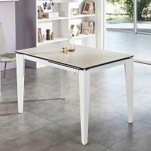 Ausziehbarer Tisch in Weiß Glas modern