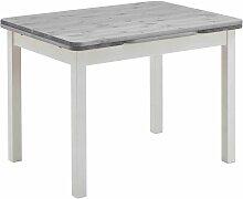 Ausziehbarer Tisch in Weiß Grau Massivholz