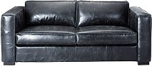 Ausziehbares 3-Sitzer- Sofa aus Leder, schwarz