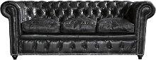 Ausziehbares Gestepptes -Sofa 3-Sitzer aus Leder,