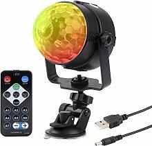 Autai USB Bühnenlicht LED Disco Licht Ball Musik Rhythmus RGB Multi Farbwechsel Strobe DJ Licht für Festival Geburtstag Home Party Bar Club Weihnachten mit Fernbedienung