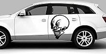Auto Aufkleber Alien Skull II Schädel Türkisblau MITTEL