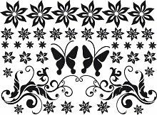 Auto Aufkleber Autoaufkleber Tuning Sticker Set Blumen Ranke Schmetterling (070 schwarz)